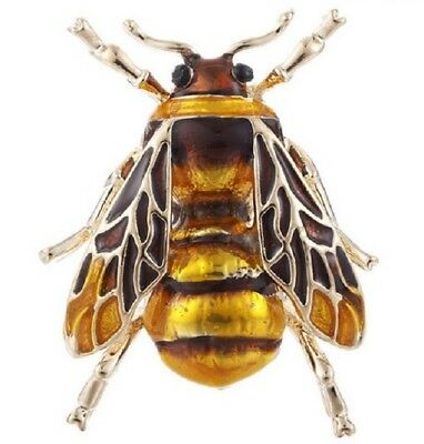 Very Realistic Bumble Bee Brooch Insect Black Gold Lapel Pin Broach Uk Seller