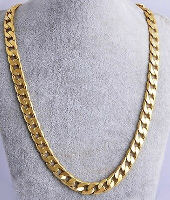 UK Heavy 61cm Necklace Gold Filled Cuban Curb Link Chain Miami 24' inch N1 UK