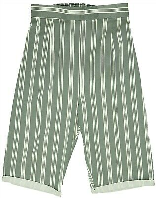 Womens New Size 12 - 24 New Green White Stripe Knee Length Pull On Shorts Ladies