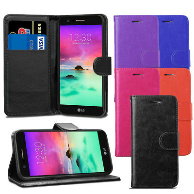 For LG K10 2017 LG X400 M250N - Premium Leather Wallet Flip Case Cover + Screen