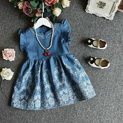 New Top Quality Girls Denim Dress Lace print details short sleeves 2 to 6 years