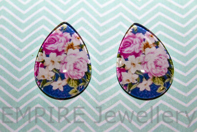 2 x Vintage Roses #1 25x18mm TEARDROP Glass Dome Cabochon Cameo Flower