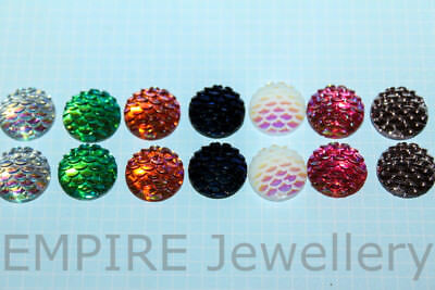 14 x Mixed Colours Shiny Mermaid Scales Resin Flatback 12x12mm Cabochon Cameo