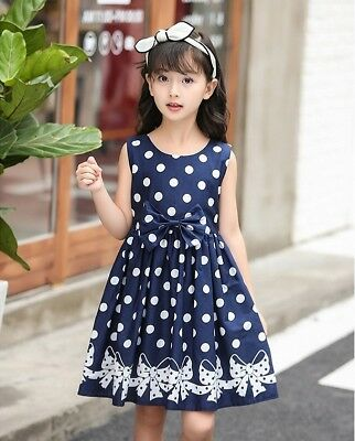 New Quality Girls Polka Dots Dress Navy Bow details sleeveless best fit 3-8years