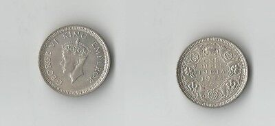 British India One Rupee 1942 George VI King Emperor East India Silver Rupee Coin