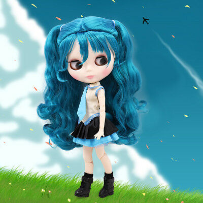 Blythe Nude Doll From Factory Jointed Body Transparent Skin Beige Mix Blue Hair