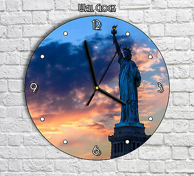 Famous American NY Statue Of Liberty - Round Wall Clock For Home Office Decor