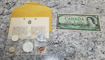 1867 1967 CANADA NOTE + Canadian Centennial Proof Like SILVER coin Mint Set