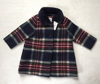 Baby Gap Girls 12-18 Months Faux Fur Collar Fully Lined Plaid Coat Jacket NWT