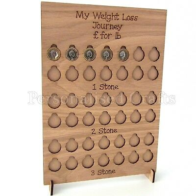 Personalised Engraved Weight Loss Journey Board £ for lb Reward Chart Oak Veneer