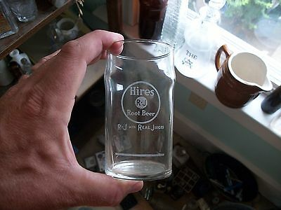 Rare Hires R-J Root Beer Real Juice Etched Advertising Fountain Drink Glass