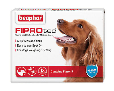 Beaphar Fiprotec Spot On Medium Dogs (10-20kg) 1 Treatment Flea Tick 5 Weeks