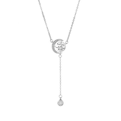 Silver Moon and Back Necklace Created with Swarovski® Crystals by Philip Jones