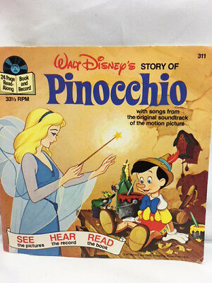 VINTAGE Walt Disney See Hear Read PINOCCHIO Story Book & Record  #311