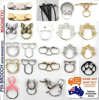 Eyeglass ID Pin Magnetic Brooch Spectacles Sunglasses Glasses Holder Chain Cord