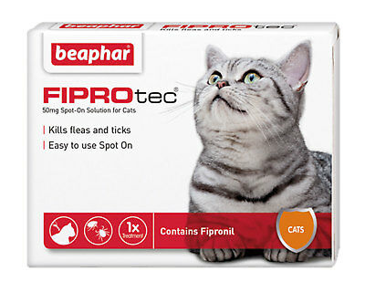 Beaphar Fiprotec For Cats 1 Pipette Flea Tick Prevention Spot-On 5 Week Fipronil