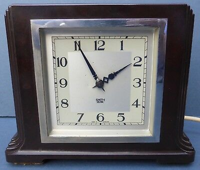 Vintage Art Deco Smiths Sectric Bakelite Electric Mantle Clock 1940s Working