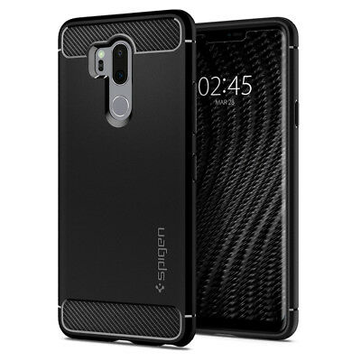LG G7 ThinQ Case | Spigen® [Rugged Armor] Black Protective  Slim Light TPU Cover