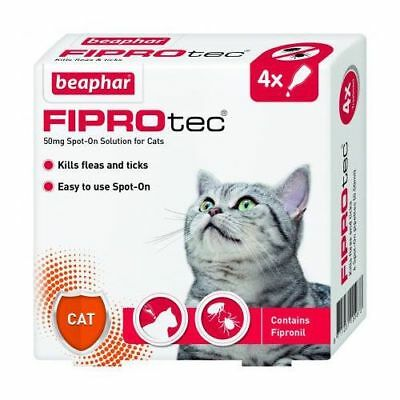 Beaphar Fiprotec For Cats 4 Pipettes Flea Tick Prevention Spot-On 15 Weeks
