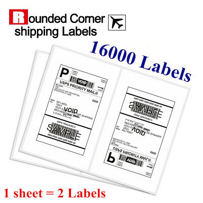 Round Corner 16000 8.5 x 5.5 Half Sheet Shipping Labels Self Adhesive - USPS UPS
