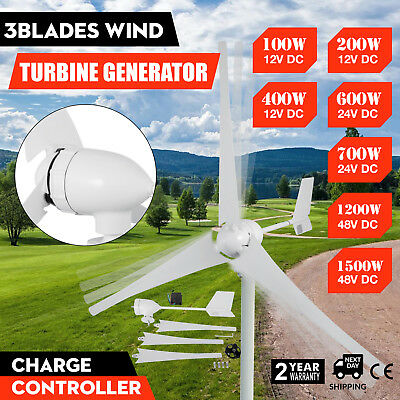 100-1500W 3Blades Wind Turbine Generator Flange Design White Low Noise