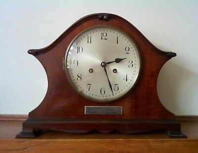 antique edwardian mantle clock in in mahogany it is a junghans Wurttemberg a42
