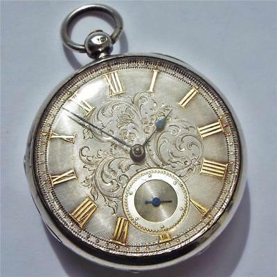 1848 Silver Dial Fusee Pocket Watch In Working Order