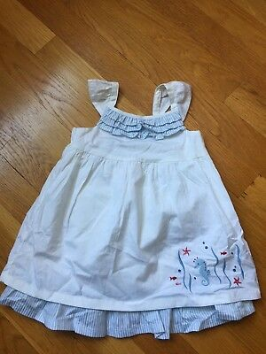 New Janie and Jack White Dress w/seahorse design and Blue ruffles 3-6 months NWT
