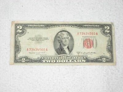 1953 $2.00 United States Two Dollar Bill Red Seal Note