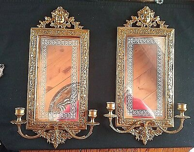 Excellent Pair~ Venetian~Italian Ornate Brass & Mirror Candle Wall Sconces Vtg