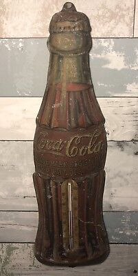 Rare Vintage Metal Coca Cola Bottle Thermometer Sign Pat. Christmas Day 1923