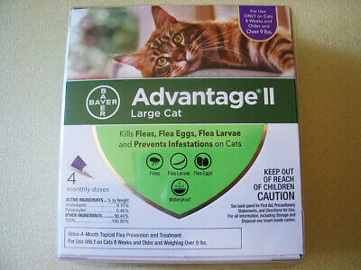 Advantage II for Large Cat Weighing over 9 lbs. - 4 Packs for 4 months Geniune