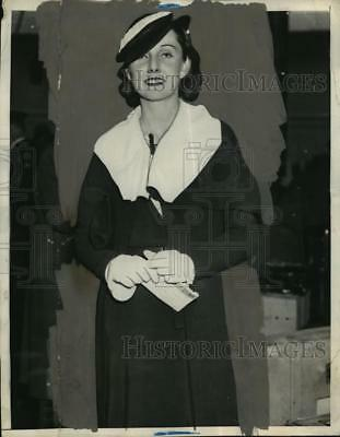 1934 Press Photo New York Ellen McAdoo Arrives on SS Majestic in NYC - neny20824