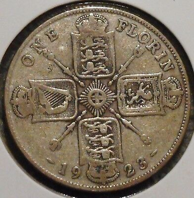 British Florin - 1923 - King George V - $1 Unlimited Shipping
