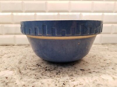 Vintage Blue Mixing Bowl Yellow Ware Stoneware 9 in