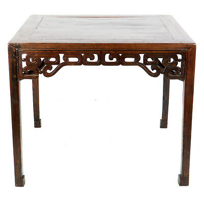 """Antique Chinese 39"""" square 32"""" T Dark Brown Lacquer Table Carved Aprons, MahJong"""