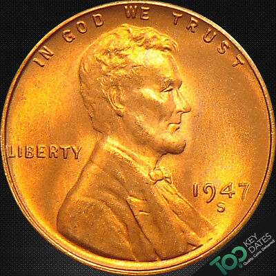1947-S  1¢ LINCOLN WHEAT CENT ~ MS GEM BU Red ~ #2758BAG