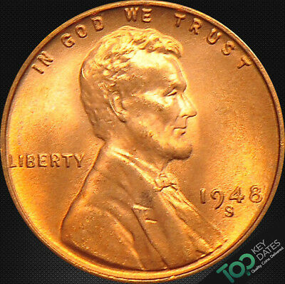 1948-S  1¢ LINCOLN WHEAT CENT ~ MS GEM BU Red ~ #2767BAG