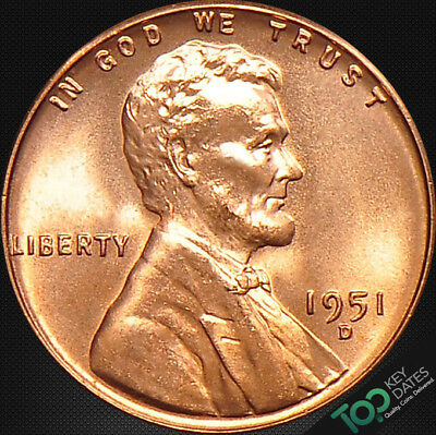 1951-D  1¢ LINCOLN WHEAT CENT ~ MS GEM BU Red ~ #2791BAG