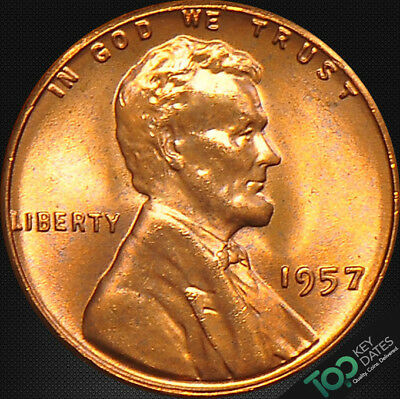 1957  1¢ LINCOLN WHEAT CENT ~ MS GEM BU Red ~ #2842BAG