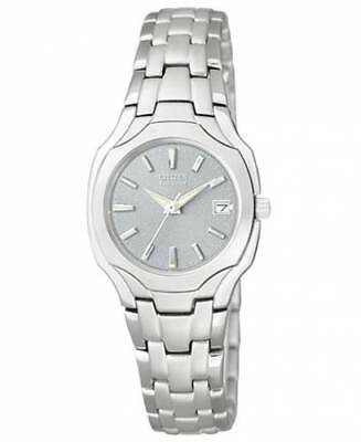 Citizen Eco-Drive EW1250-54A Womens Dress Stainless Steel Silver Dial Date Watch