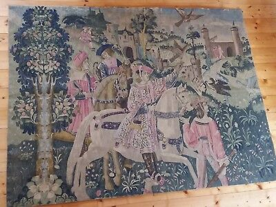 "Tapestry, Large French Aubusson Style Wall Hanging (180 x140cm)  5'11"" x  4'7"""