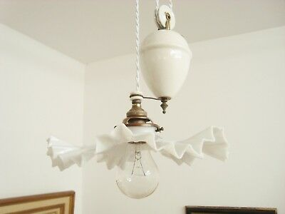 Lovely Rise And Fall Chandelier Light Lamp Opaline Shade Lustre Monte Baisse