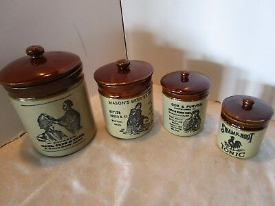 Vintage Moira glazed Pottery Kitchen Storage Jars 4 canisters set England 1960's
