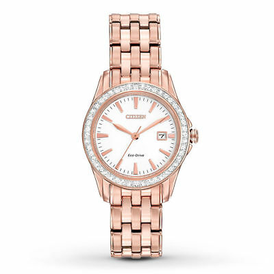 Citizen Eco-Drive Women's EW1903-52A Silhouette Crystal Accents Rose Gold Watch