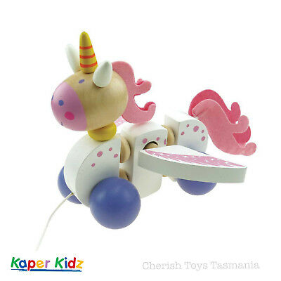 Wooden Pull Along Unicorn Pegasus Kids Horse Wings Cute Girl Baby Toy