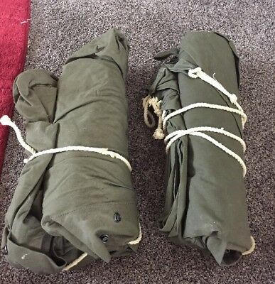 Pair Of U.S. Army Millitary GI Issue Shelter Half Pup Tents C