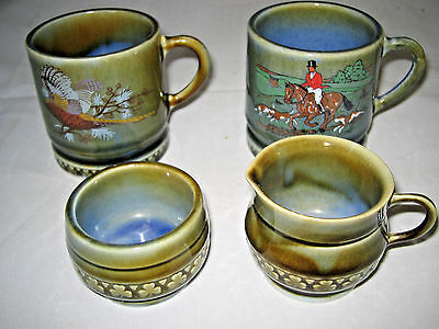Wade Shamrock 4-pc set Ireland Fox Hunt Pheasant mini creamer sugar LOOK
