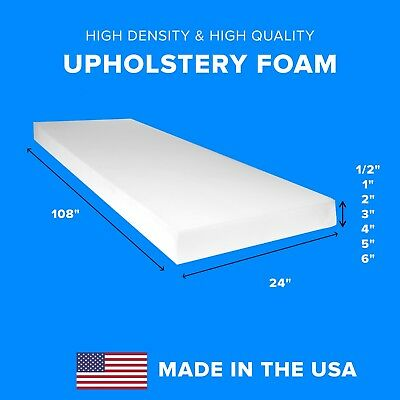 "High Density Upholstery Foam Seat Couch Cushion Replacement - 24"" x 108"""