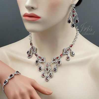 White Gold Plated Ruby Cubic Zirconia Necklace Bracelet Earrings Jewelry Set 993